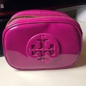 Tory Burch hot pink makeup bag